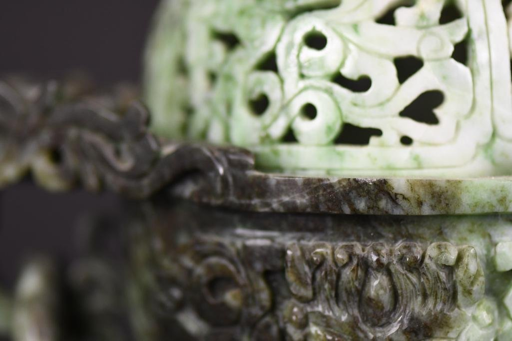 Chinese Jade Lidded Censer on Wood Stand - 10