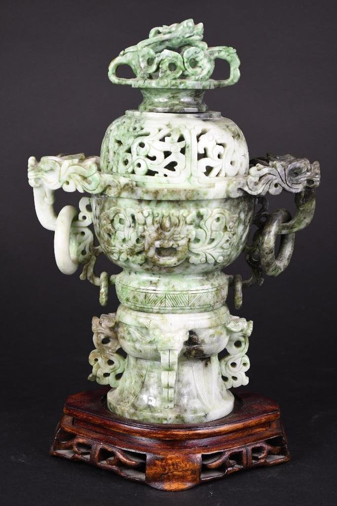 Chinese Jade Lidded Censer on Wood Stand