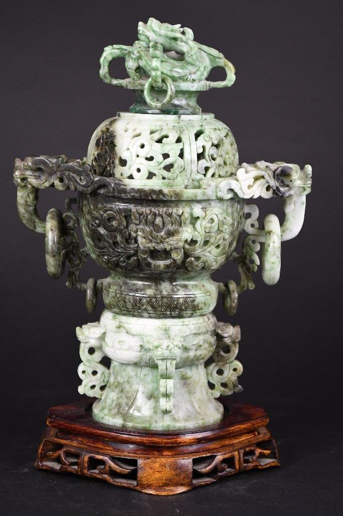 Chinese Jade Lidded Censer on Wood Stand - 2