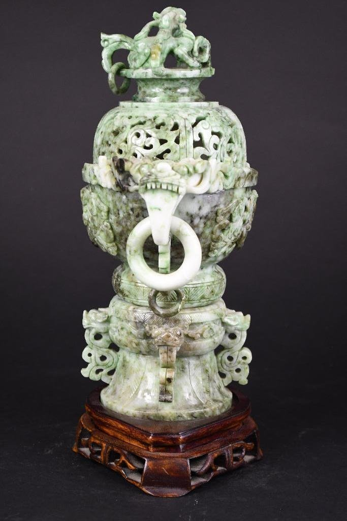Chinese Jade Lidded Censer on Wood Stand - 3