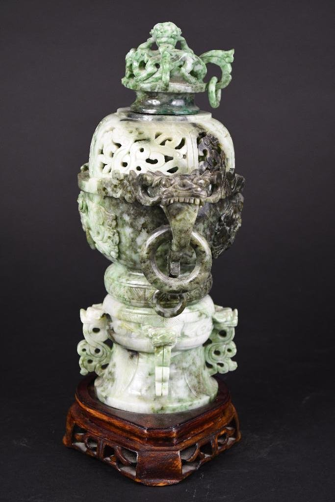 Chinese Jade Lidded Censer on Wood Stand - 7