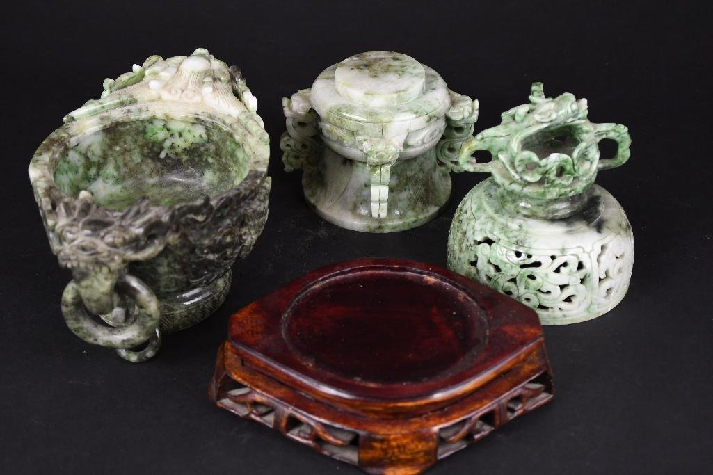 Chinese Jade Lidded Censer on Wood Stand - 8