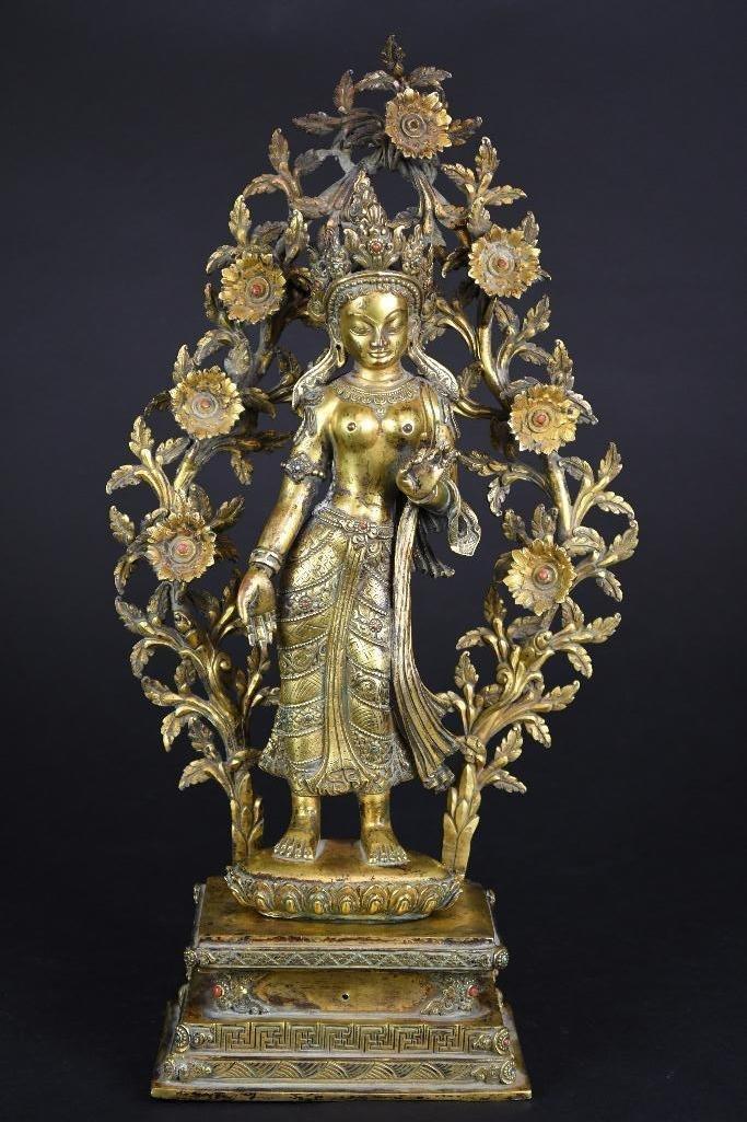 Chinese Bronze Standing Buddha