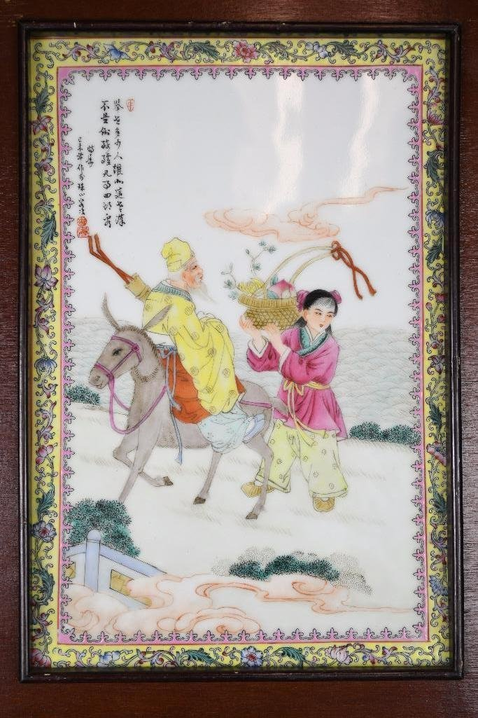 Chinese Famille Rose Porcelain Framed Plaque