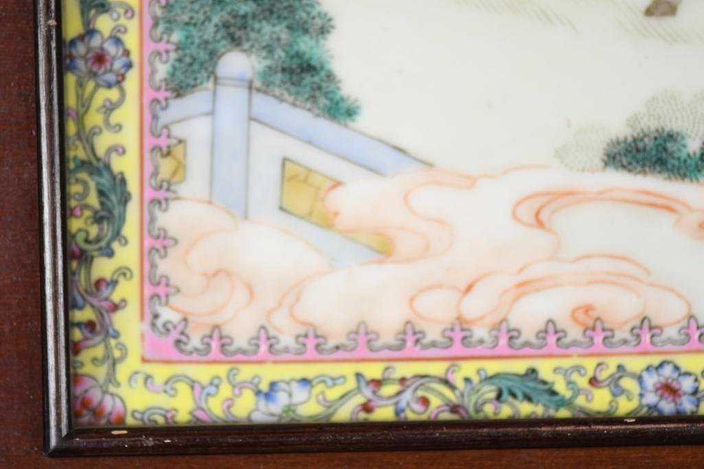Chinese Famille Rose Porcelain Framed Plaque - 7