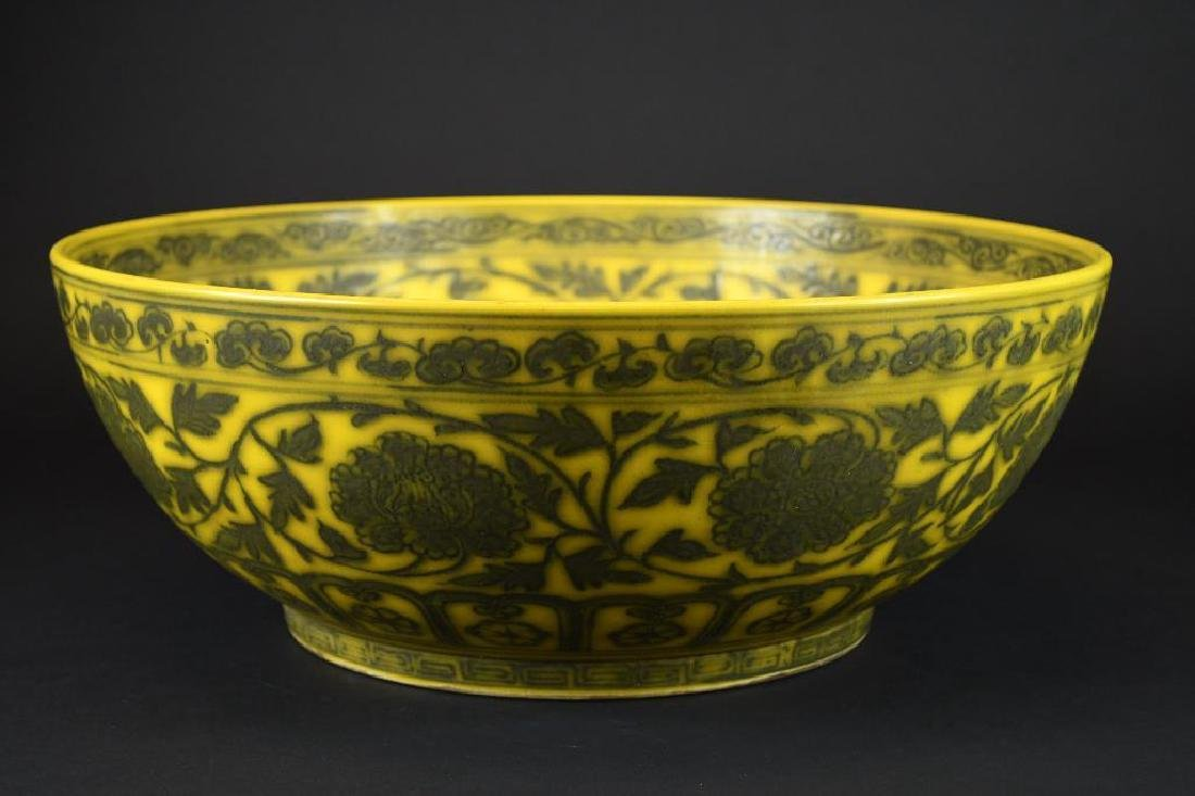 Large Chinese Yellow Ground Bowl