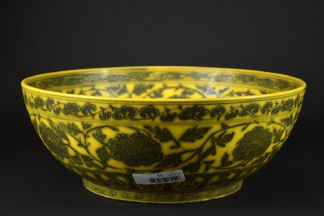 Large Chinese Yellow Ground Bowl - 2