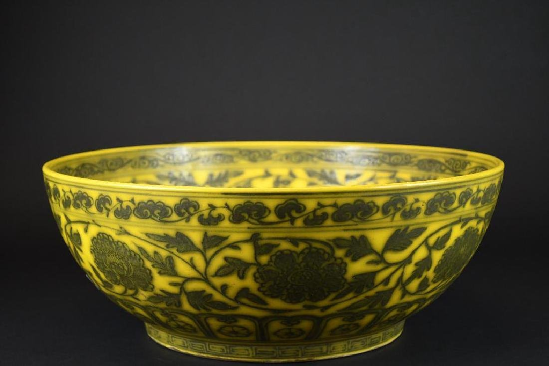 Large Chinese Yellow Ground Bowl - 3