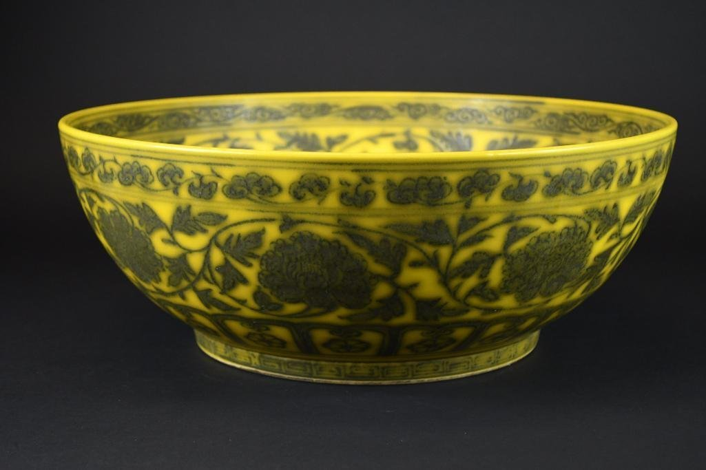 Large Chinese Yellow Ground Bowl - 4