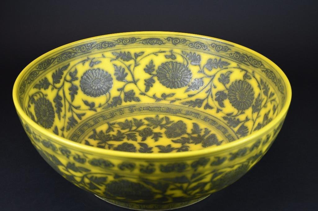 Large Chinese Yellow Ground Bowl - 5