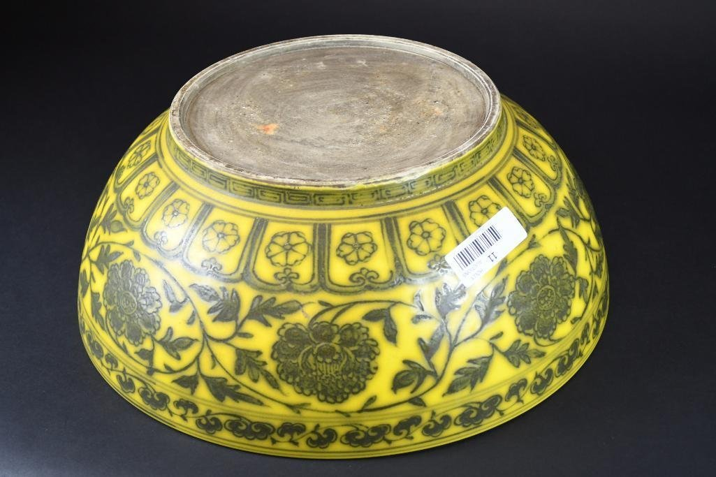 Large Chinese Yellow Ground Bowl - 6