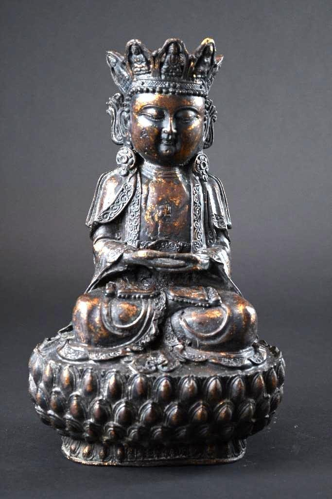 Chinese Bronze Seated Guan Yin on Double Lotus  Base