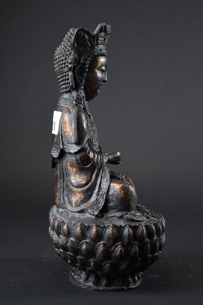 Chinese Bronze Seated Guan Yin on Double Lotus  Base - 2