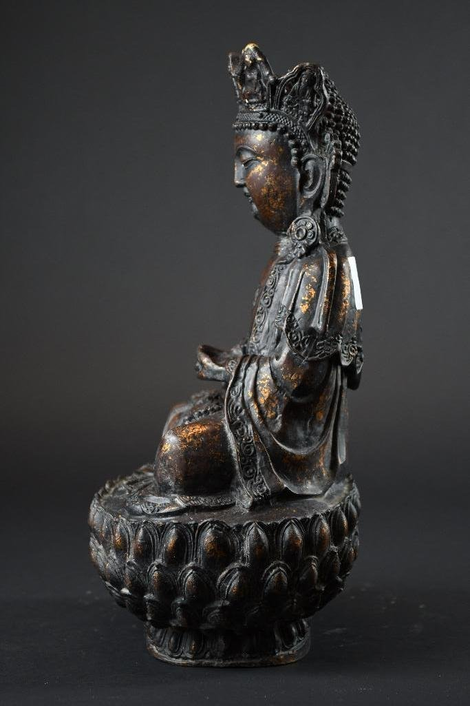 Chinese Bronze Seated Guan Yin on Double Lotus  Base - 3