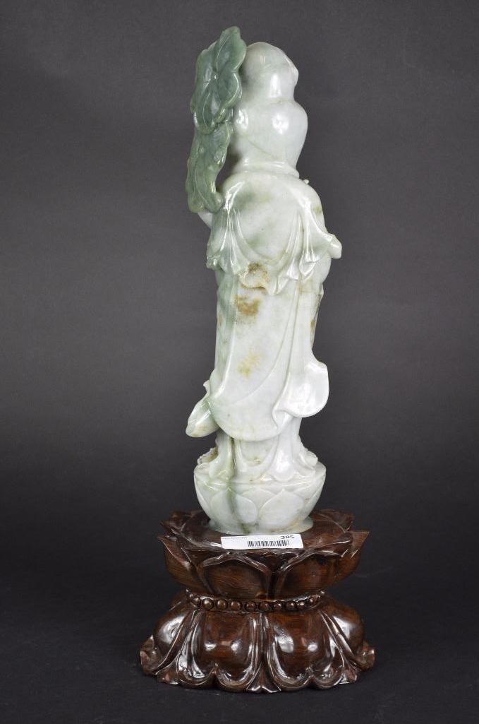 Chinese Jadeite Standing Guan Yin & wood Stand - 3
