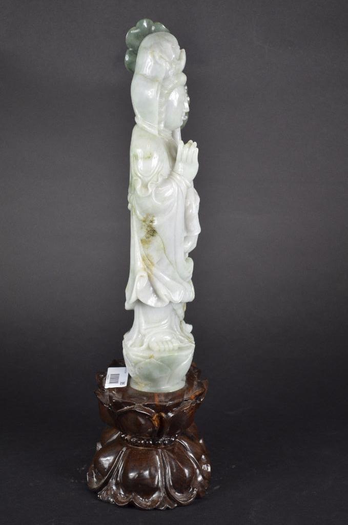 Chinese Jadeite Standing Guan Yin & wood Stand - 4