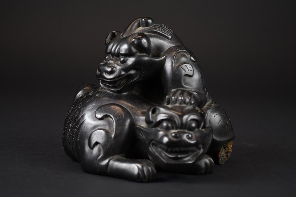 Carved Chinese Zitan/Hardwood Group of Foo Lions