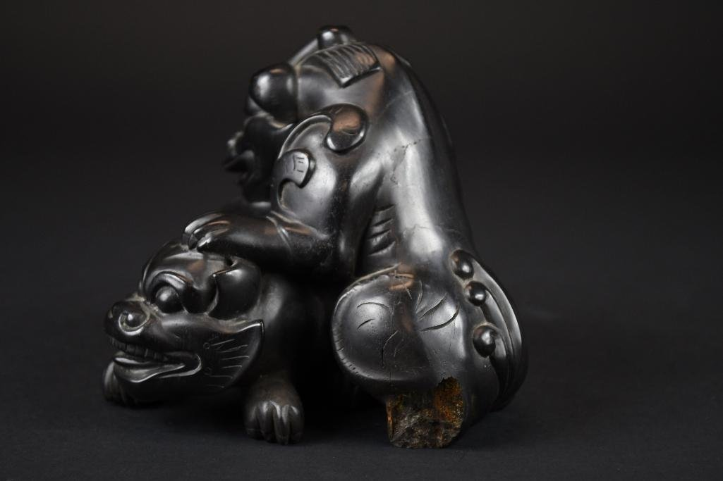 Carved Chinese Zitan/Hardwood Group of Foo Lions - 2