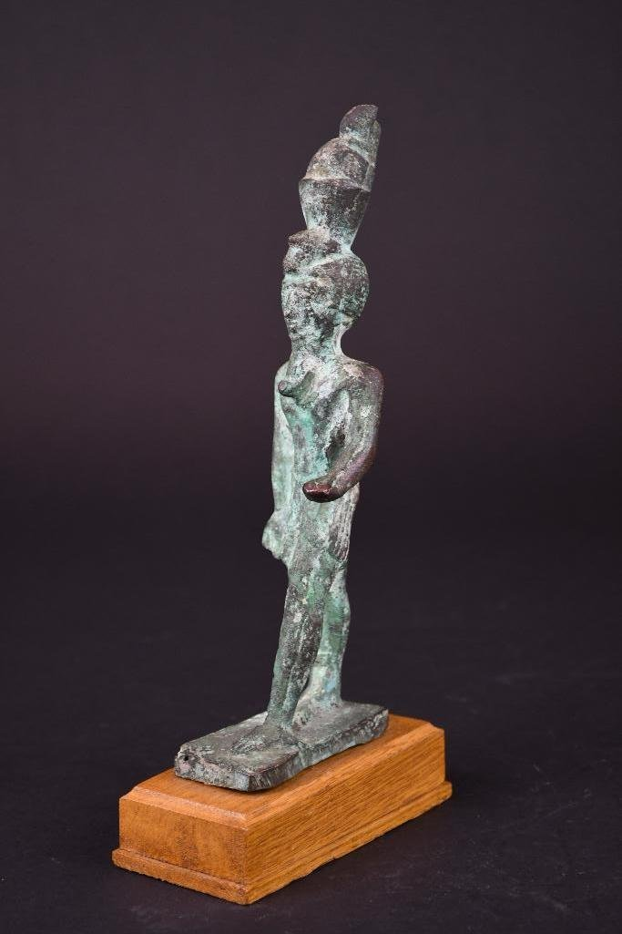 Egyptian Bronze Standing Diety on Wood Stand - 10