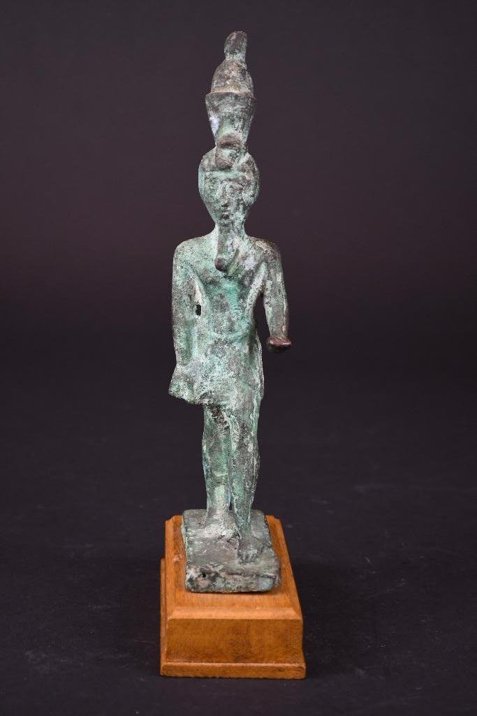 Egyptian Bronze Standing Diety on Wood Stand - 2