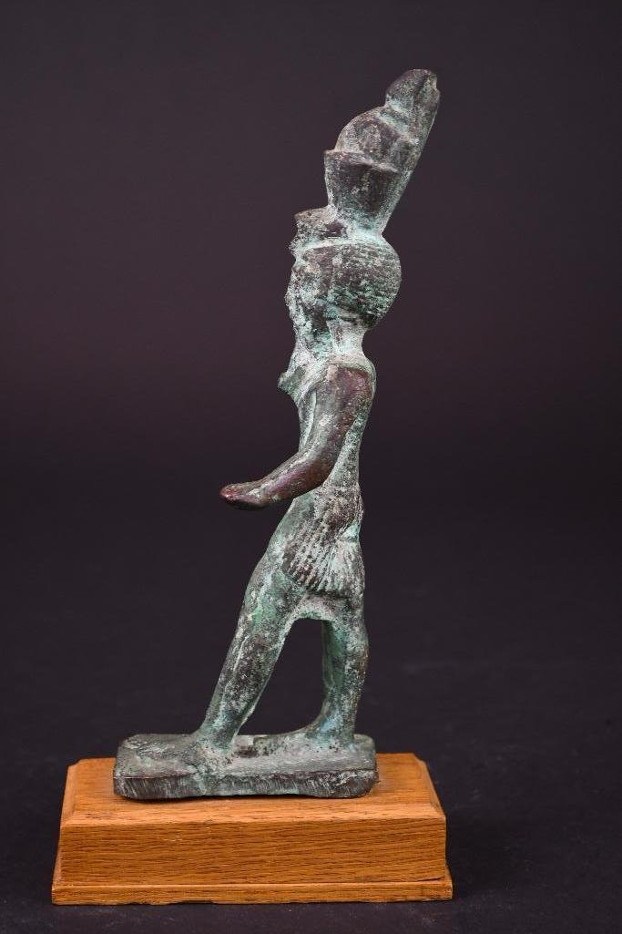 Egyptian Bronze Standing Diety on Wood Stand - 3