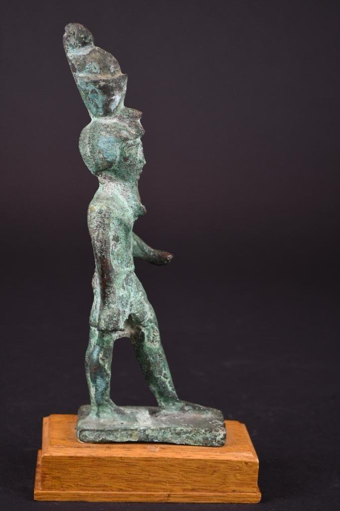 Egyptian Bronze Standing Diety on Wood Stand - 5