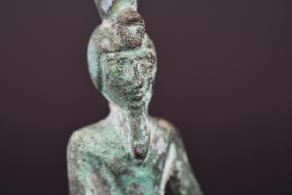 Egyptian Bronze Standing Diety on Wood Stand - 7