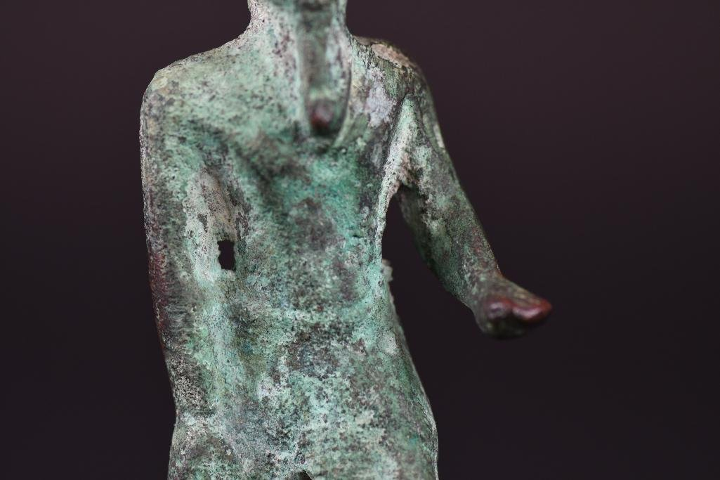 Egyptian Bronze Standing Diety on Wood Stand - 8