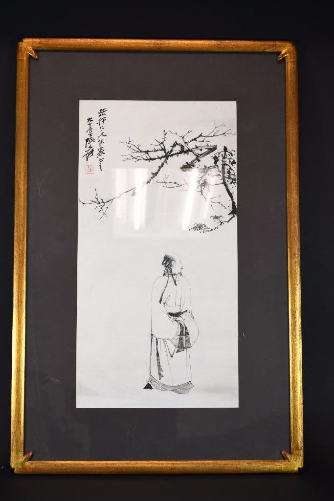 Framed Chinese Painting of Man in Garden