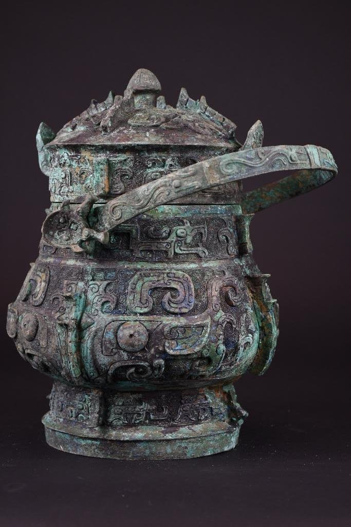 Chinese Bronze Lidded Vessel - 3