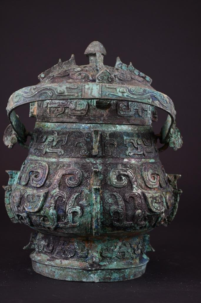 Chinese Bronze Lidded Vessel - 4