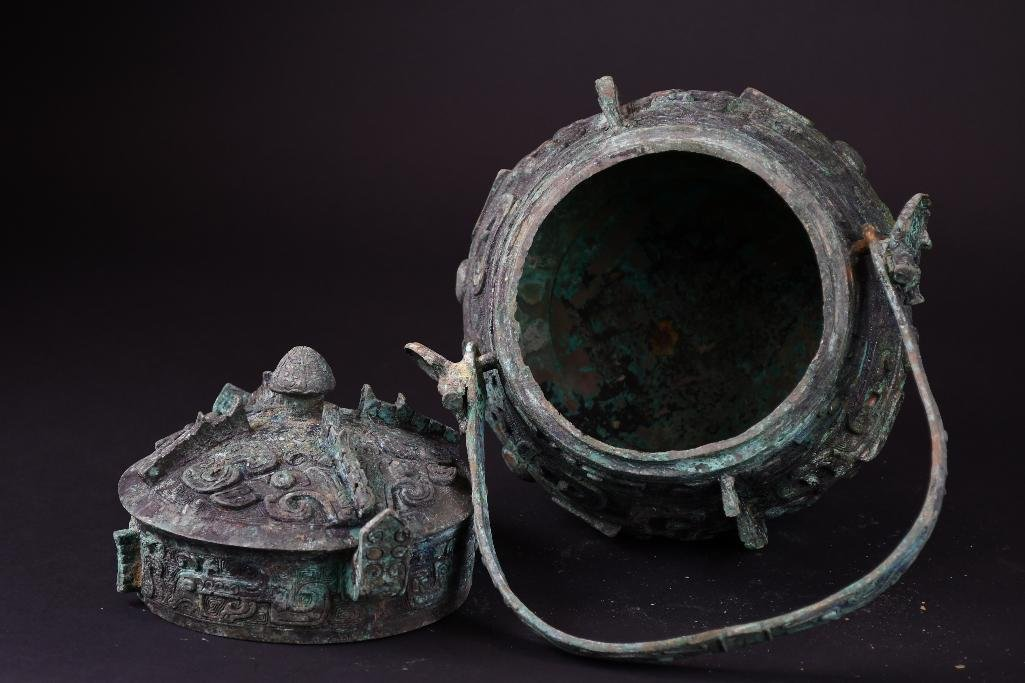 Chinese Bronze Lidded Vessel - 5