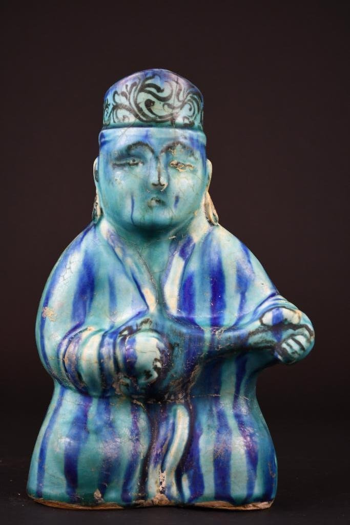 Ancient Kashan Turqouise Glaze Musician Form Vase