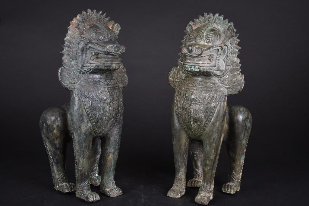 Pair of Chinese Bronze Foo Lions - 10