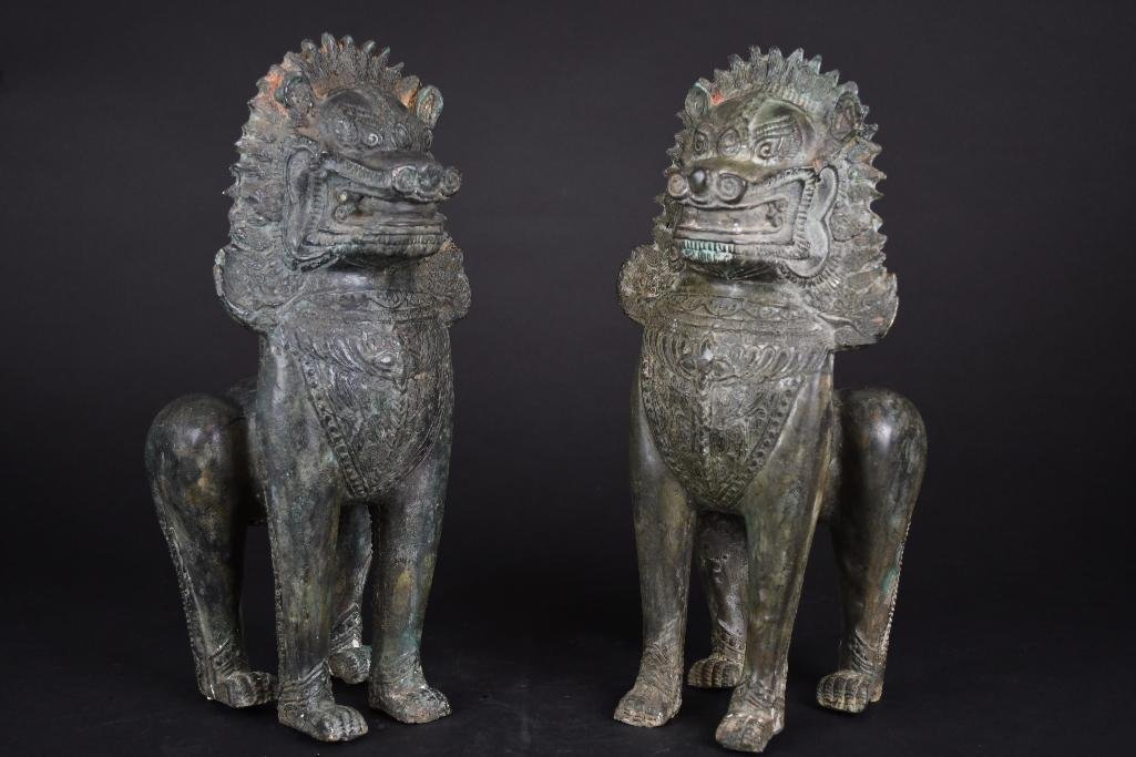 Pair of Chinese Bronze Foo Lions