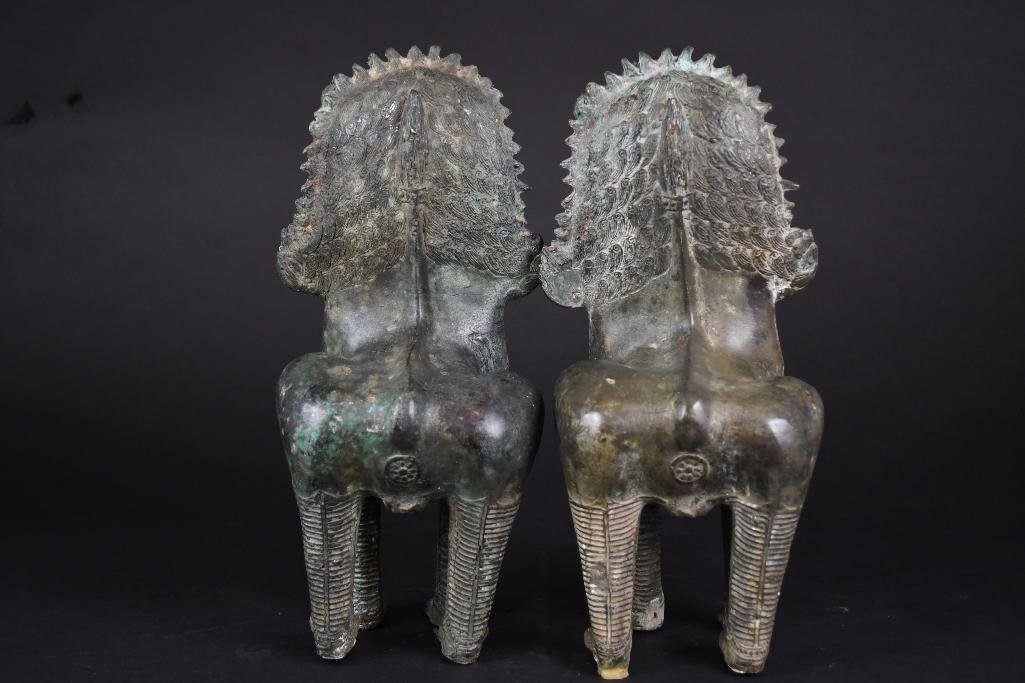 Pair of Chinese Bronze Foo Lions - 3
