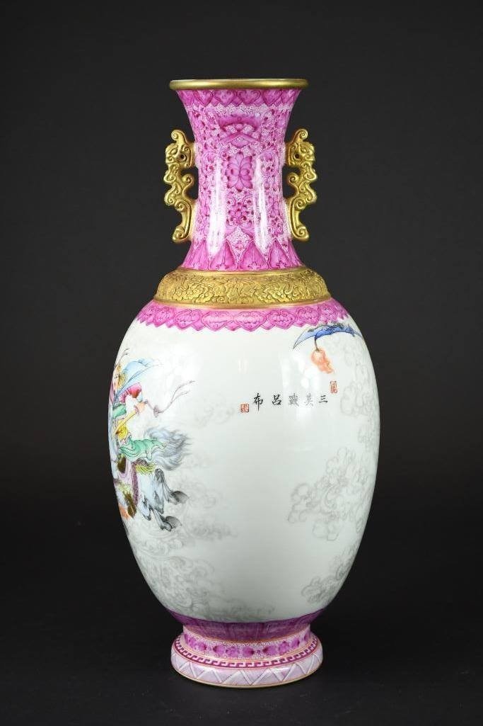 Chinese Famille Rose Hand Painted Porcelain Vase - 3