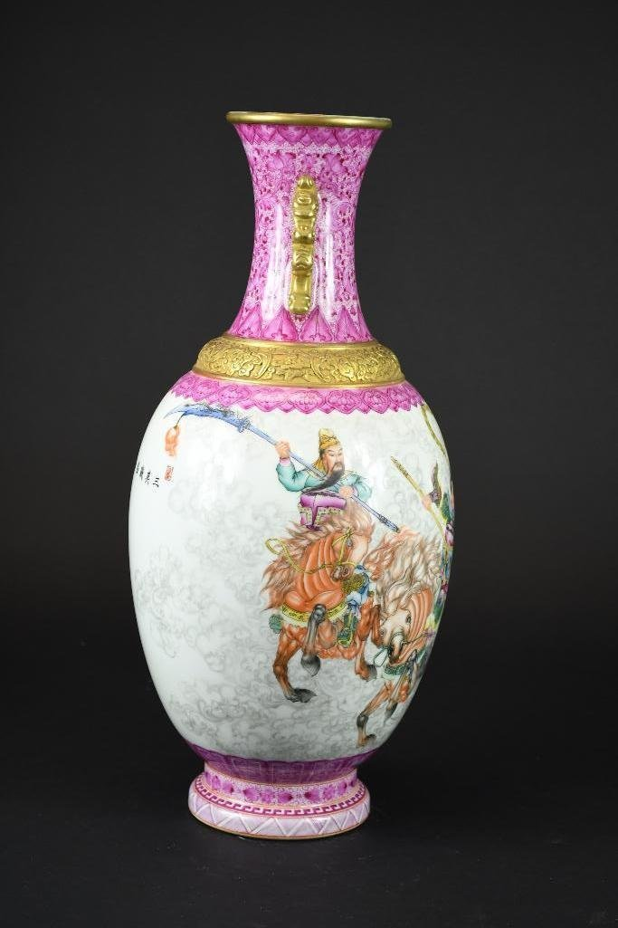 Chinese Famille Rose Hand Painted Porcelain Vase - 4