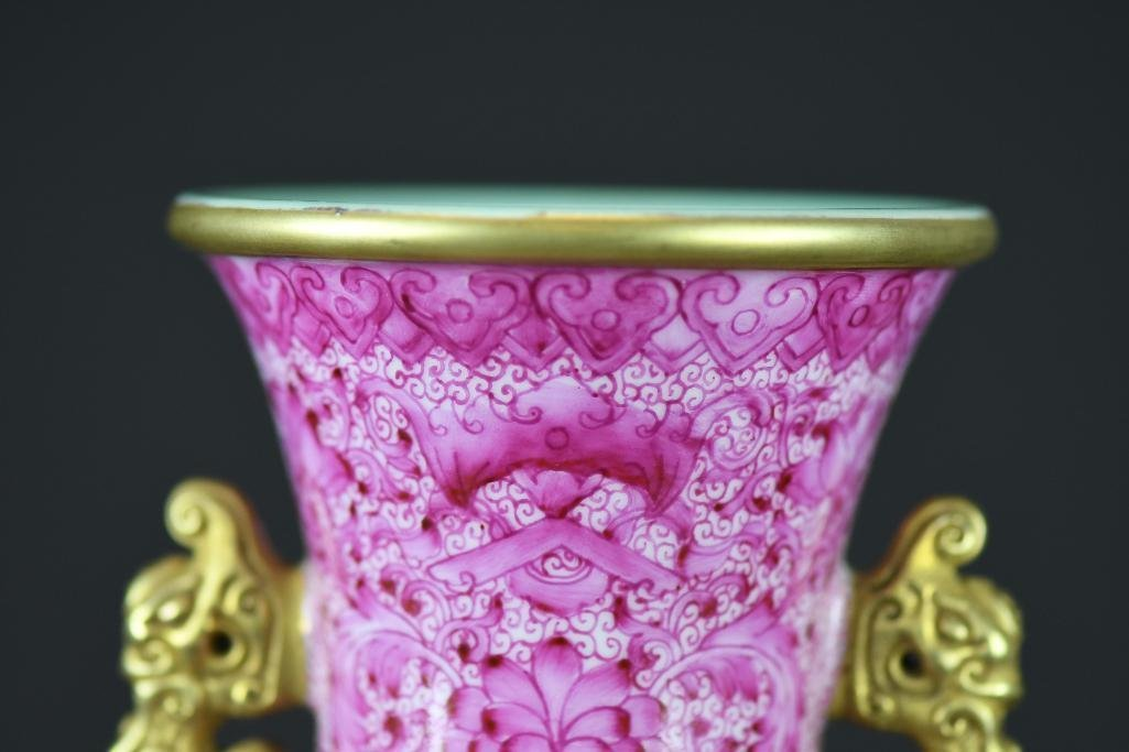 Chinese Famille Rose Hand Painted Porcelain Vase - 7