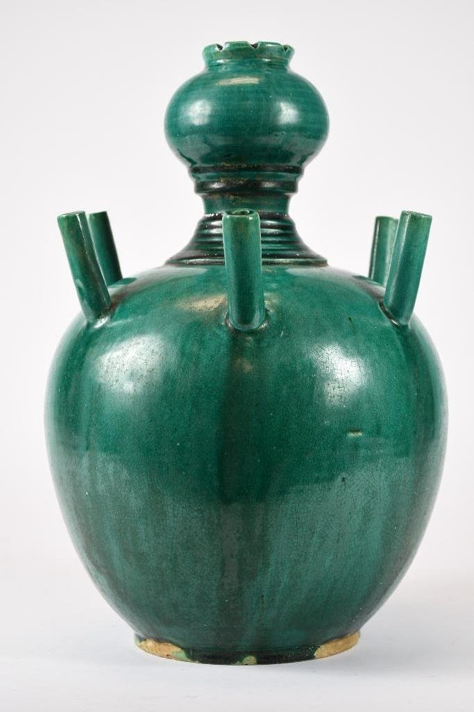 Chinese Green Glaze Incense Burner - 3