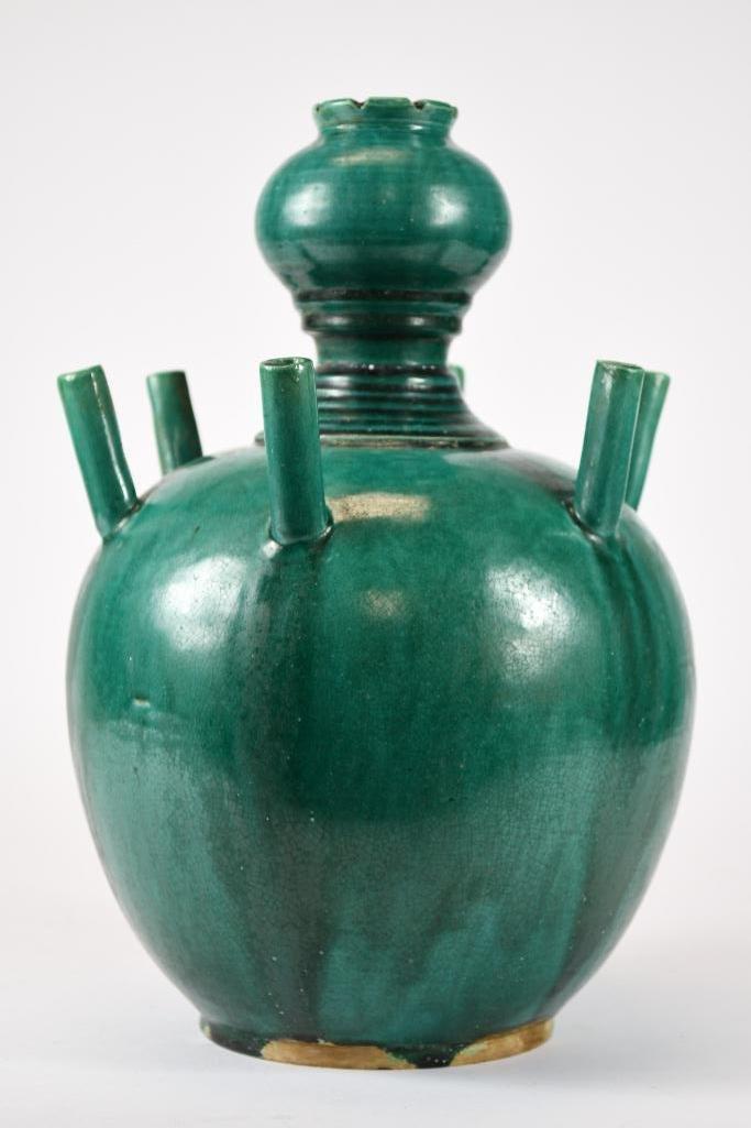 Chinese Green Glaze Incense Burner - 4