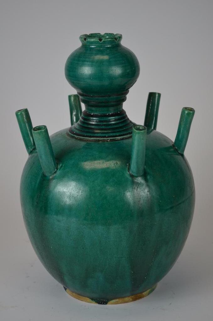 Chinese Green Glaze Incense Burner - 8