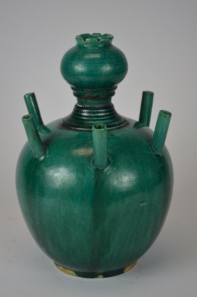 Chinese Green Glaze Incense Burner - 9
