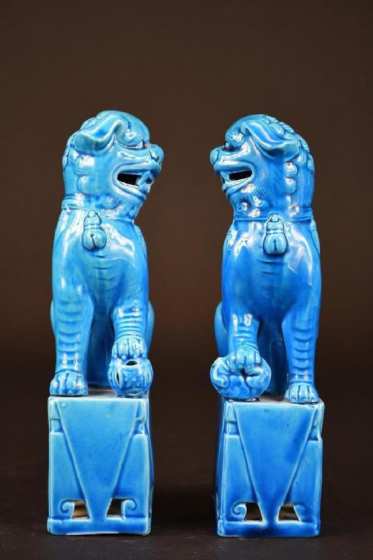 Pair of Chinese Porcelain Blue Glaze Foo Lions