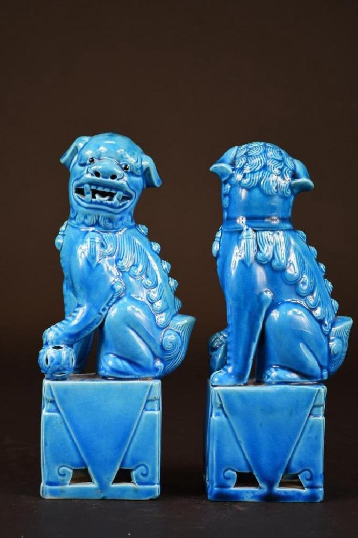 Pair of Chinese Porcelain Blue Glaze Foo Lions - 2