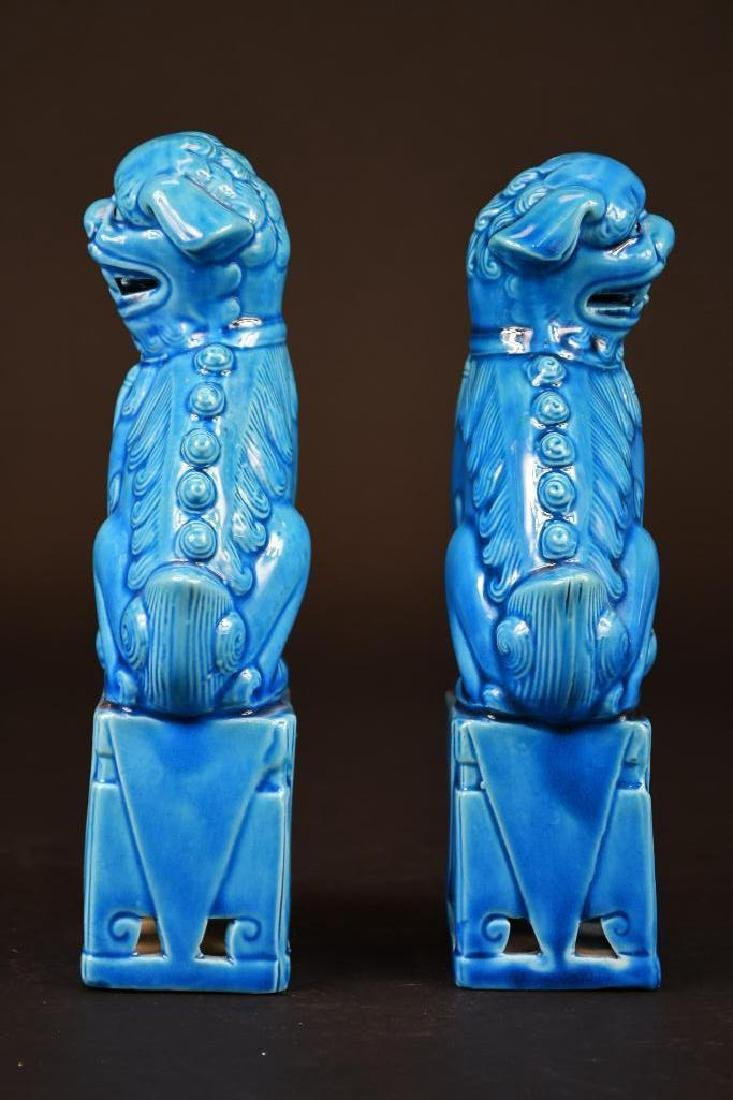 Pair of Chinese Porcelain Blue Glaze Foo Lions - 3