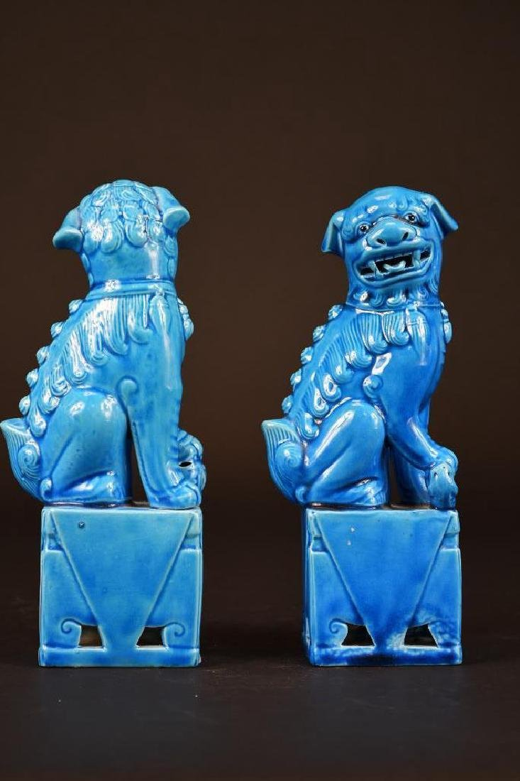Pair of Chinese Porcelain Blue Glaze Foo Lions - 4