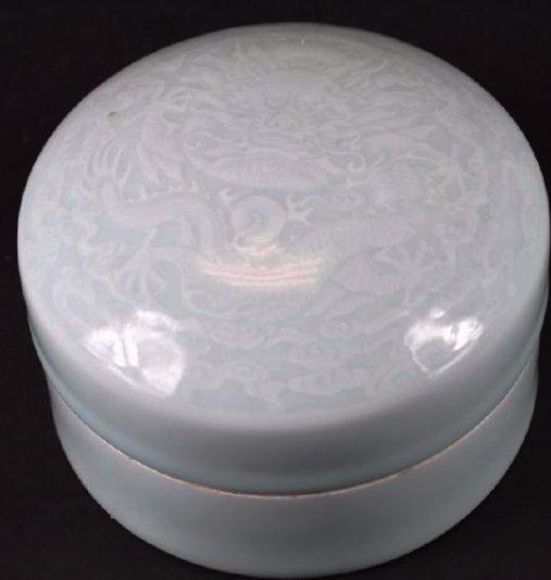 Chinese Celadon Glaze Porcelain Dragon Box