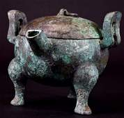 Chinese  Bronze Tripod Lidded Censer