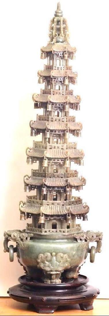 Masterfully Carved Chinese Jade Hotan Pagoda Censer Com
